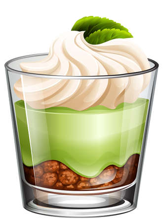 Green tea dessert in glass illustration Illustration