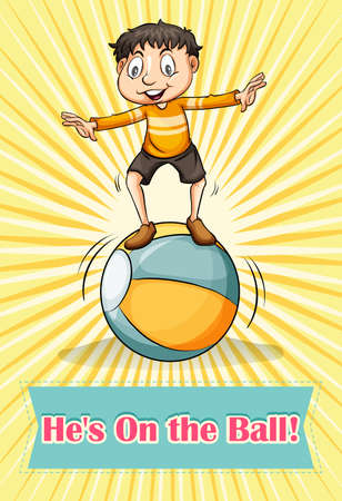 Boy balancing on the ball illustration Illustration