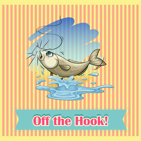 off the hook: Fish released from fishing hook illustration Illustration