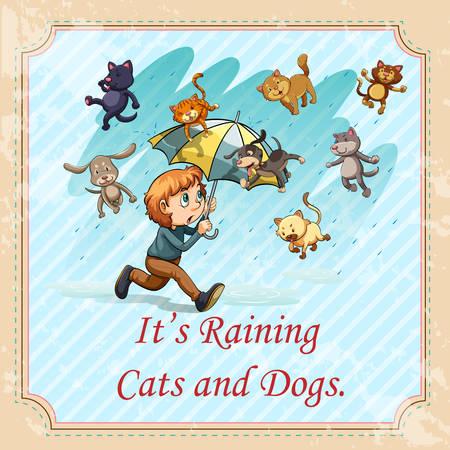 sotto la pioggia: Uomo con l'ombrello sotto la pioggia illustrazione