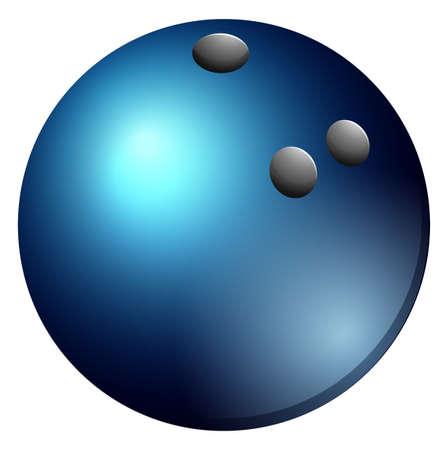 pelota: Bola de bowling en azul ilustración en color