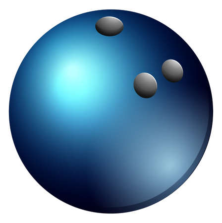Bowling ball in blue color illustration Ilustração