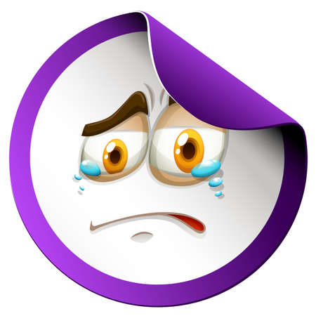 sad face: Crying face on purple sticker illustration
