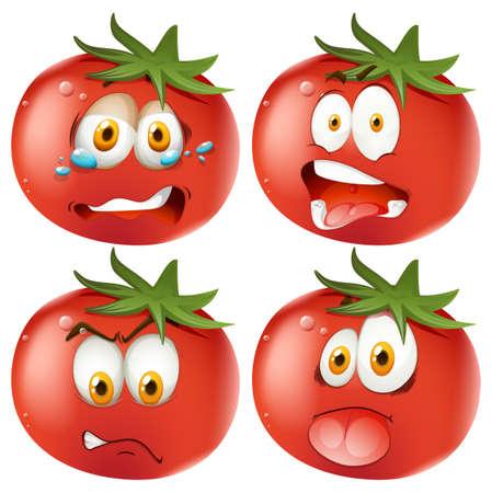 multiple image: Set of emoticon tomatoes illustration