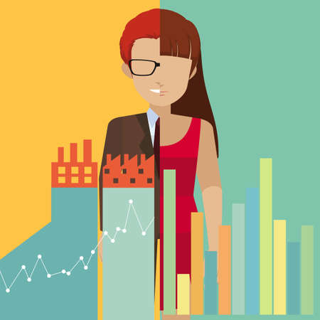 human resource: Faceless characters and graphs illustration