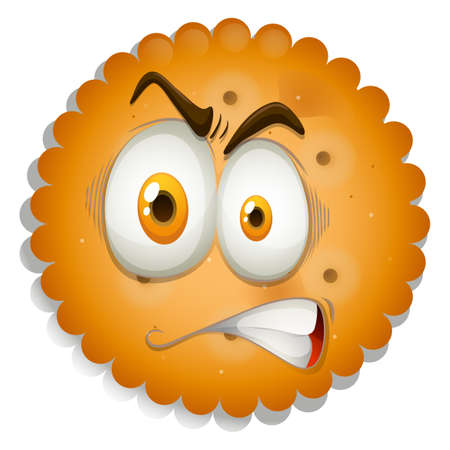 agitated: Cracker with angry face illustration Illustration