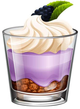 rasberry: Rasberry dessert in glass illustration