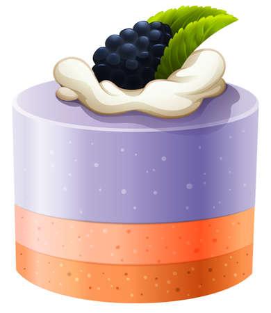 rasberry: Blackberry cake with cream illustration Illustration