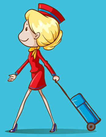 an attendant: Flight attendant with luggage illustration