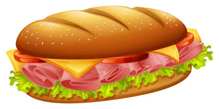 Hamburger with ham and cheese illustration