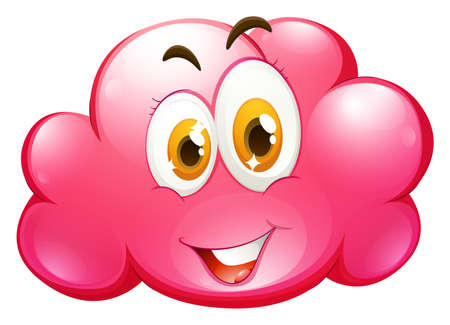 clouds: Cute face on pink cloud illustration