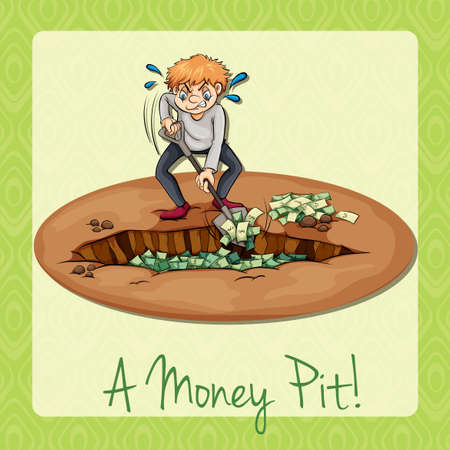 pit: Man digging pit full of money illustration
