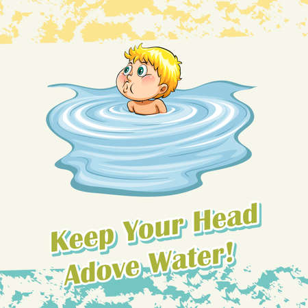 figurative: Keep your head above water illustration Illustration