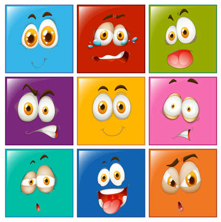 square buttons: Facial expression on square buttons illustration Illustration
