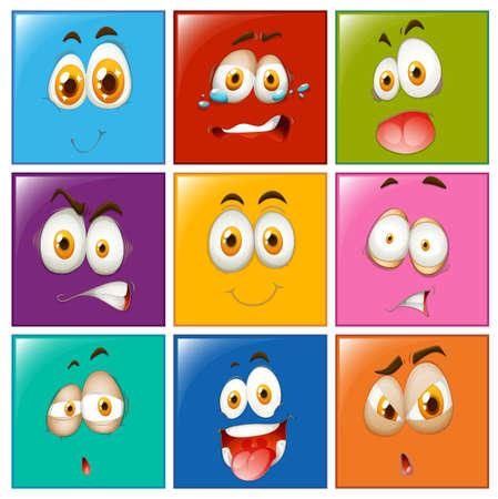 expression visage: L'expression du visage sur les boutons carr� illustration