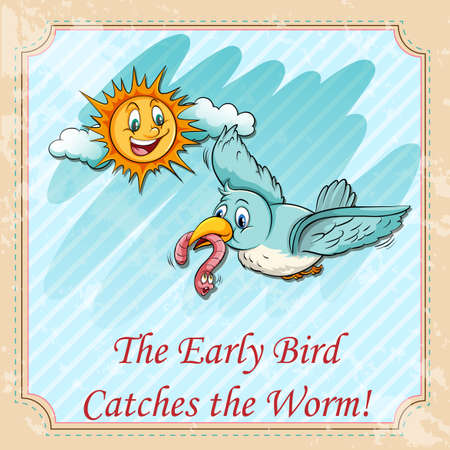 figurative: Early bird catches the worms illustration