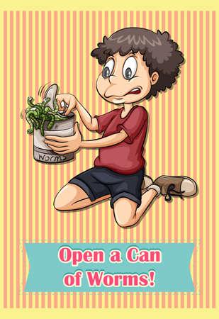 gusanos: Idiom abrir una lata de gusanos ilustraci�n Vectores