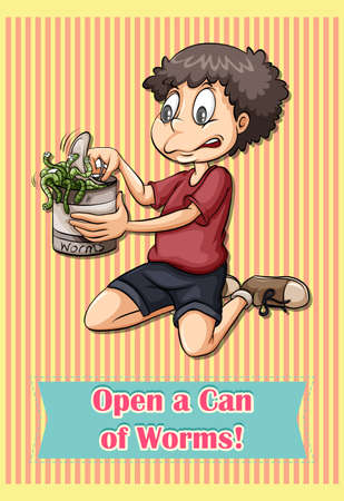 figurative: Idiom open a can of worms illustration