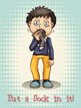 shut up: Put a sock in it illustration