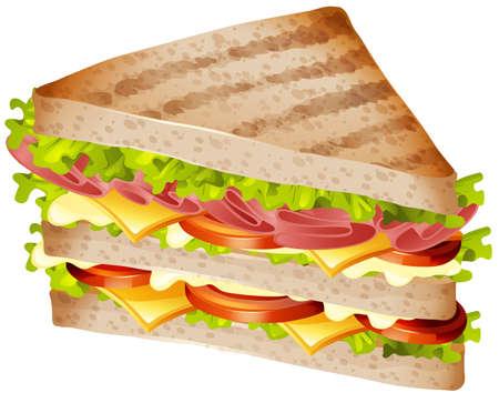 Sandwich met ham en kaas illustratie