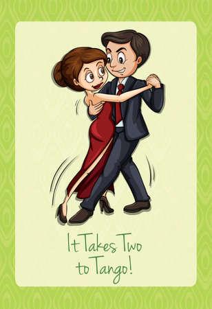 tanzen cartoon: Nimmt zwei zum Tango Illustration