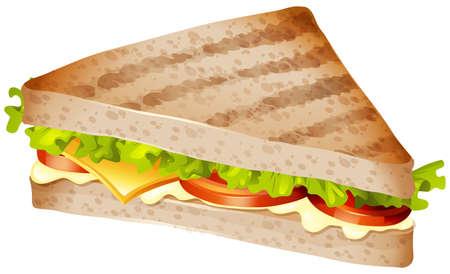 bocadillo: Sándwich con carne y verduras ilustración Vectores