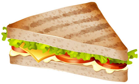 toasted: Sandwich with meat and vegetables illustration