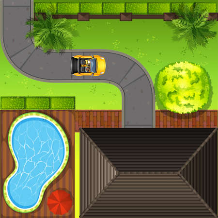 Top view of  private house illustration Illustration