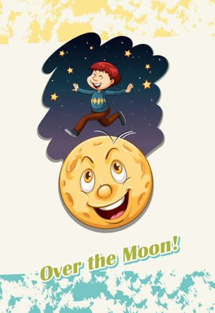 funny pictures: Idiom over the moon illustration Illustration