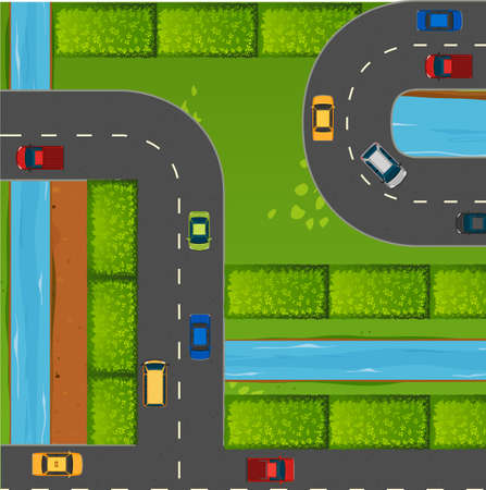 Top view of cars on roads illustration Illustration