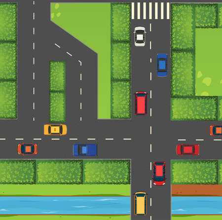 top down car: Top view of street full of cars illustration