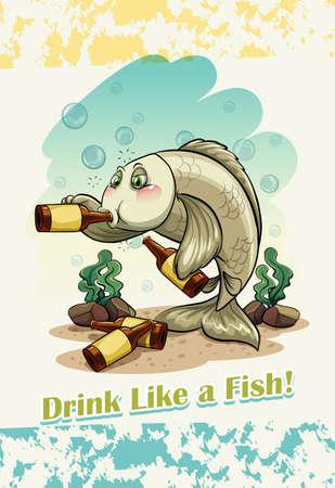 figurative art: Idiom drink like a fish illustration