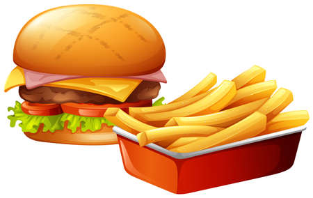 deep fried: Cheeseburger and french fries illustration Illustration