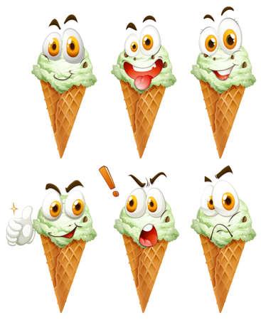 helado cucurucho: Cono de helado con caras ilustración
