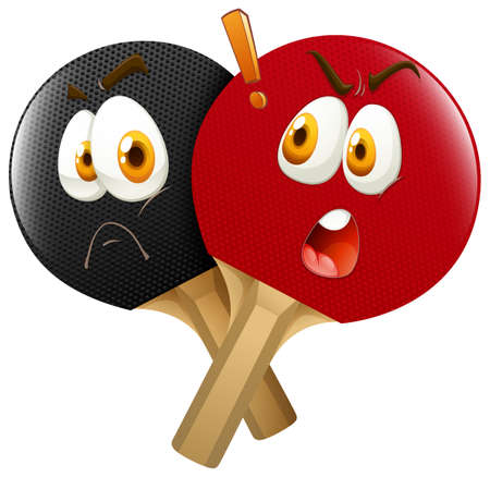 Table tennis racket with faces illustration