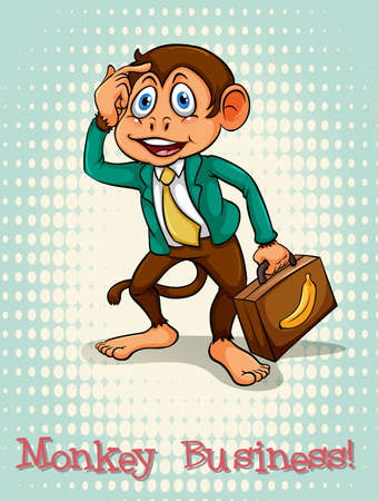 English idiom monkey business illustration