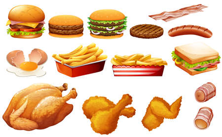 bacon art: Fastfood in various types illustration