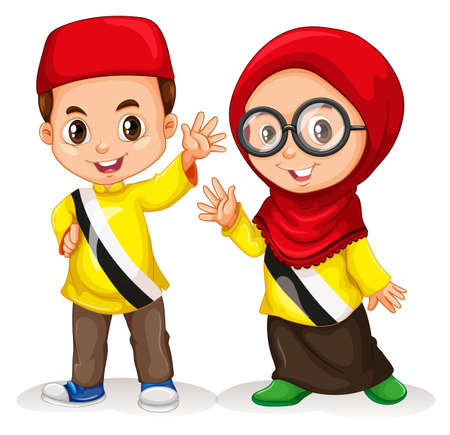 Muslim: Boy and girl from Brunei illustration