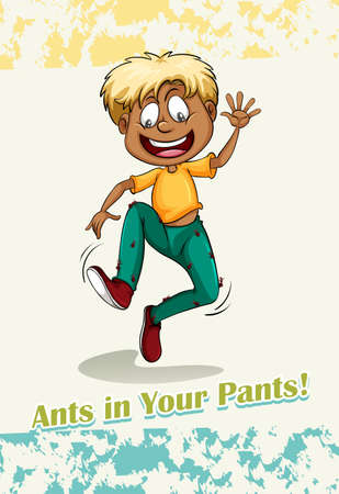 figurative: Idiom ants in your pants illustration