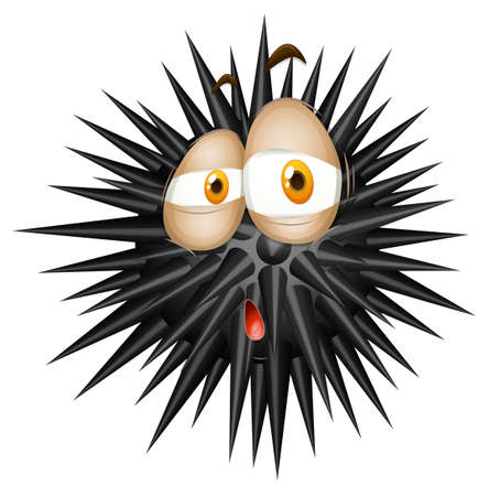 thorny: Black thorny ball with sad face illustration