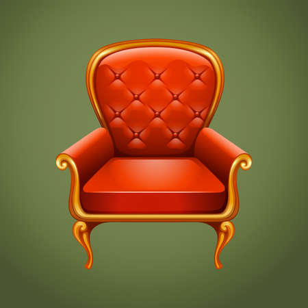 vintage furniture: Luxury armchair on gray illustration