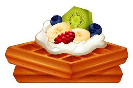 banana bread: Waffle with cream and fruits illustration Illustration