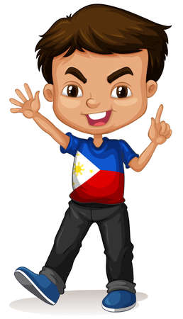 boy smiling: Philippine boy greeting and smiling illustration