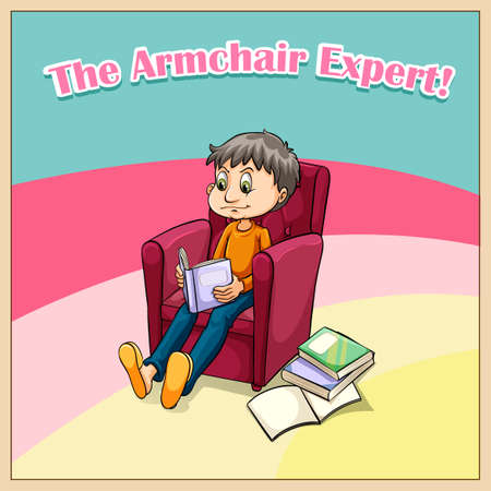 saying: Old saying armchair expert illustration