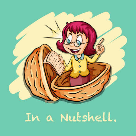 nutshell: Idiom in a nutshell illustration Illustration