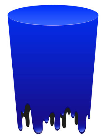 melting: Blue color tube melting illustration Illustration