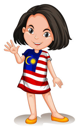 Malaysian girl waving hello illustration