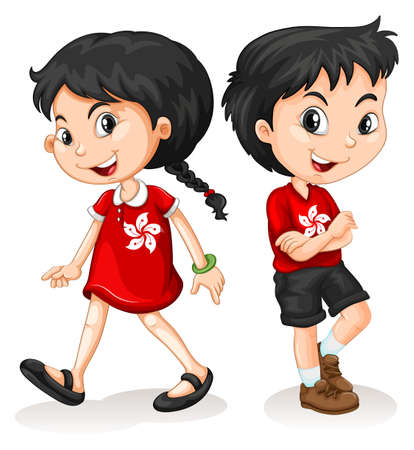 girl friends: Little boy and girl from Hong Kong illustration