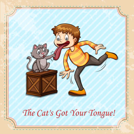 speechless: Idiom cat got your tongue illustration