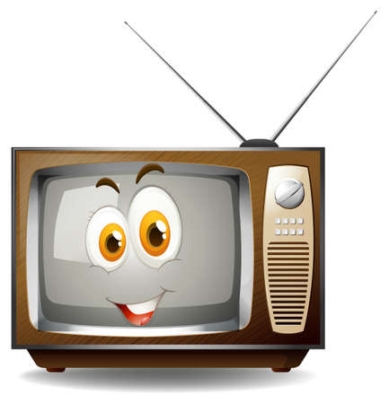 mouth screen: Retro television with happy face illustration